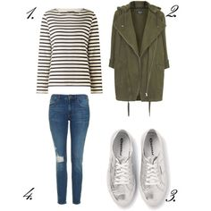 Silver Superga, breton, jeans and khaki parka