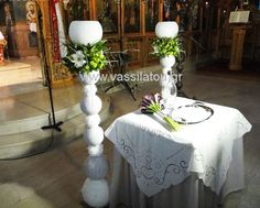 white and green Flower Decorations, Table Decorations, Candles, Interior, Green, Flowers, Wedding, Furniture, Home Decor
