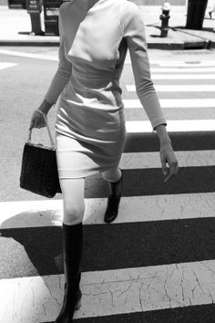 clean line fitted dress + knee boots + purse  by Tom Betterton