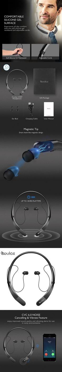 COULAX NEW Bluetooth Headphones Wireless Neckband Headset Stereo Magnetic In-Ear Earbuds with Mic Wireless Earphones for phones