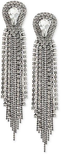 ABS by Allen Schwartz Two-Tone Crystal & Ball Chain Fringe Drop Earrings