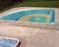 Pool that looks like a ball diamond ~ awesome .... my dream pool... just put this pool on my bucket list..