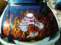 Auto bonnet Chevrolet. Design concept: Fire 'n death painted by PAZ.