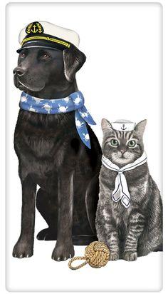 Nautical Dog and Cat 100% Cotton Flour Sack Dish Towel Tea Towel