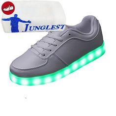 JUNGLEST [Present:Kleines Handtuch] Schwarz - Schwarz EU 40, Weise Frauen Flashing Sneakers up Glow die Light Männer Paar LED Partei Tanz Farben 7 Hip