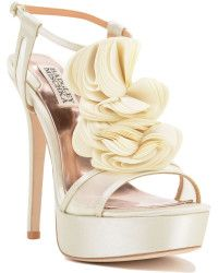 Badgley Mischka | Flora T-strap Ruffle Evening Shoe |  Lyst