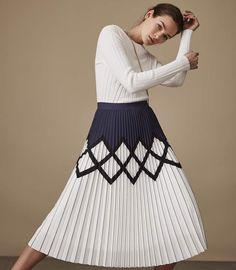 81e200df312e0 Elsa Printed Knife-Pleat Midi Skirt.The Elsa knife-pleat skirt in white