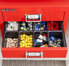 For the smaller Lego pieces that can easily be lost, the Bisley Filing Cabinet is great. The bright colors look great and the variety of drawer inserts can be tailored to the pieces you are storing. Each drawer has a label for easy identification.