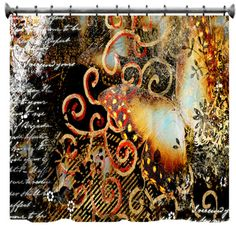 Butterfly Artwork in Grunge Shower Curtain  69 X 70 by susanakame1, $89.00