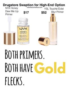 NYX Honey Dew Me Up Primer is a perfect match for YSL's much more expensive primer. This is a drugstore dupe to give your skin a glow. Ysl Beauty, Beauty Dupes, Beauty Makeup, Beauty Hacks, Hair Makeup, True Beauty, Elf Makeup, Prom Makeup, Beauty Style