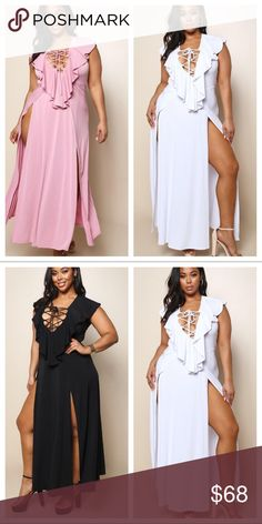 Beautiful sexy maxi slit dresses Beautiful maxi slit dresses with lace up front all colors listed available Dresses Maxi