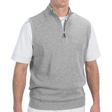 Fairway & Greene Luxe Touch Vest - Zip Neck (For Men) in Silver Heather - Closeouts