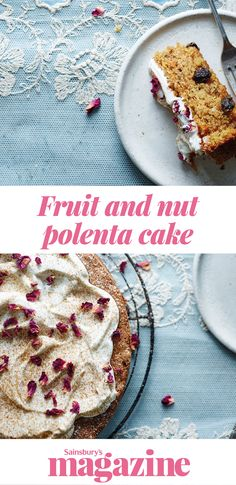 This fruit and nut polenta cake recipe includes nutritious goodies, such as nuts, raisins and carrot, plus healthier oils rather than butter. The result is a cross between a pudding and a moist cake Gluten Free Baking, Vegan Gluten Free, Gluten Free Recipes, Baking Ideas, Baking Recipes, Cake Recipes, Low Sugar Recipes, No Sugar Foods, Polenta Cakes
