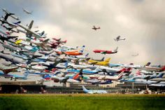 Multiple Photo of Takeoffs at Hannover Airport by Ho-Yeol Ryu.