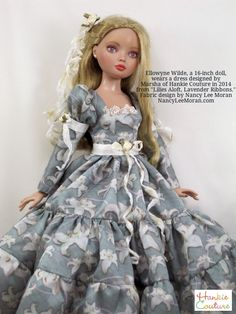 Ellowyne Wilde doll models a Hankie Couture dress, from fabric named Lilies Aloft with Lavender Ribbons, fabric designed by artist Nancy Lee Moran USA, doll repainted by Nancy Lee Moran #Spoonflowered