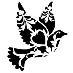 Floral Bird Bird Reusable Stencils Ready to use Custom image 1 Bird Stencil, Stencil Art, Stenciling, Damask Stencil, Damask Wall, Animal Stencil, Stencil Patterns, Stencil Designs, Stencil Templates