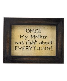 Look what I found on #zulily! 'OMG' Stitchery Framed Wall Sign #zulilyfinds