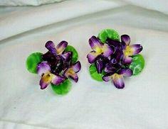 Vintage Violets Flower Clip-on Earrings in English Bone China Purple EUC | eBay