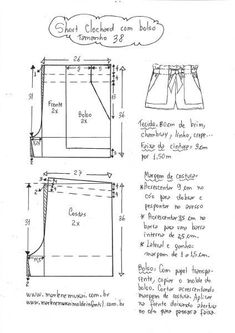 Best 11 Brilliant Photo of Shorts Sewing Pattern – SkillOfKing. Sewing Shorts, Sewing Clothes, Diy Clothes, Dress Sewing Patterns, Clothing Patterns, E 38, Schneider, Pattern Drafting, Pants Pattern