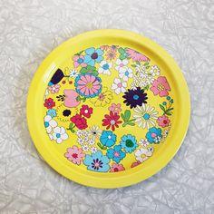 Mod •~• vintage metal floral serving tray