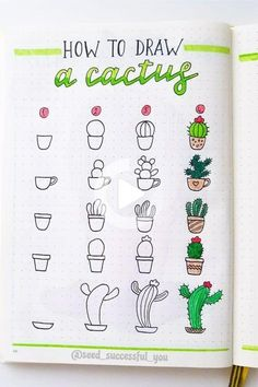 If you're looking to decorate your bullet journal then you need to check out these adorable cactus and succulent doodle tutorials for inspiration! #drawing #drawingideas Easy Doodles Drawings, Easy Doodle Art, Cute Easy Drawings, Simple Doodles, Art Drawings, Disney Drawings, Pencil Drawings, Doodle Art For Beginners, Cute Doodles