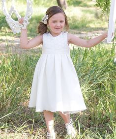 Look at this Ivory Crochet Lace Sleeveless Dress - Toddler & Girls on #zulily today!