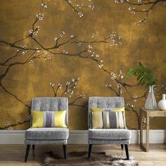 Digital Chinoiserie Wallpaper - Graham & brown panoramic non-woven wallpaper chinoiseries gold 300 x 280 cm gold Graham Et Brown