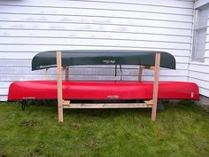 DIY canoe rack, a bunk bed for Old Town Discovery 119 solo canoe (like a Honda CRV) and Penobscot 164 (like a 1970s Cadillac) by duroc2006, via Flickr