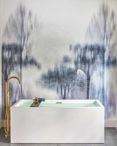 Trove Wallpaper's Nyx pattern is the perfect backdrop to a streamlined tub.