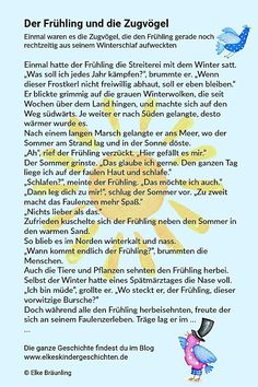 ✔ Der Frühling und die Zugvögel * Elkes Kindergeschichten Reading Practice, Darning, Storytelling, Kindergarten, German, Kids, Reading, Poems For Children, Kids Learning