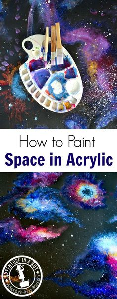 Learn how to paint space with acrylics in a way that even children can accomplish! This technique works for creating beautiful abstract wall art and decorative craft projects.