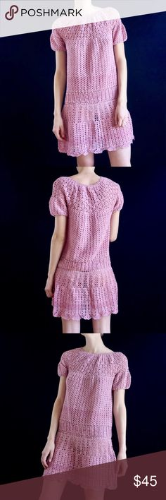 d293a44a27 Vintage pink crocheted dress Hand crocheted vintage pink mini dress with  drop waist. Best fits S up to size Mode is a size 4 and Unlined and sheer  in the ...