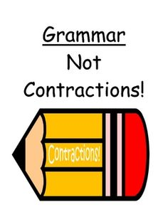 "Fern Smith's Center Game ""Not Contractions!"" Grammar Skills / Word Work"