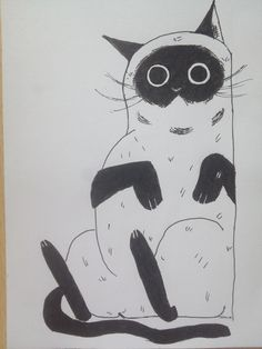 Drawing#black#white#funny#cat#liner#school#summer#easy#big#eyes