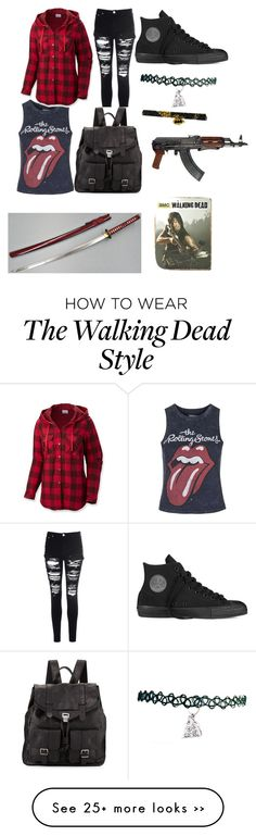 """""""The walking dead character outfit #1 Tara"""" by purplepandaprincess07 on Polyvore featuring Topshop, Columbia, Glamorous, Converse and Proenza Schouler"""