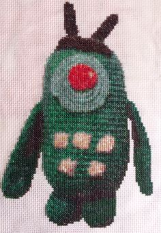 This is made from a picture that is made of a crochet plankton :)