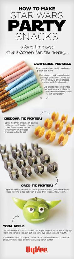 Throwing a Star Wars themed party? Here are some fun and tasty snack ideas.