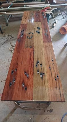 Trent Hardy :: table top from railroad sleepers