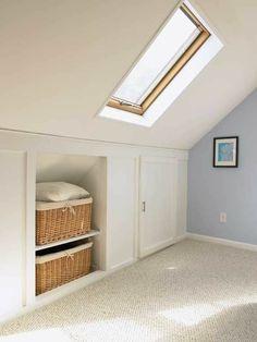 52 Super Ideas For Garage Attic Storage Ideas Built Ins Garage Attic, Attic Loft, Loft Room, Bedroom Loft, Attic Ladder, Attic Office, Diy Bedroom, Loft Closet, Bedroom Ideas