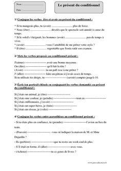 Conditionnel présent - Cm2 - Exercices corrigés - Pass Education   Conditionnel présent ...