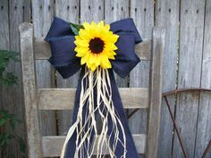 Chocolate Covered Strawberries Discover Wired Denim Bow Sunflowers Pew Bow Sunflower Wedding Navy and Yellow Church Aisle Rustic Wedding Barn Wedding Rustic Decor Wreath Yellow Wedding, Wedding Colors, Rustic Wedding, Summer Wedding, Our Wedding, Wedding Flowers, Dream Wedding, Wedding Navy, Wedding Church