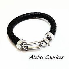 Bracelet cuir tressé  fermoir Manille pour Homme
