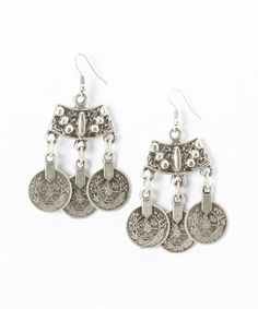 Look at this #zulilyfind! Silver Triple-Coin Crescent Drop Earrings by Turkish Delight #zulilyfinds