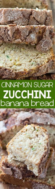 Cinnamon Sugar Zucchini Banana Bread - an easy banana bread recipe with zucchini and a crunchy cinnamon sugar topping baked right in. This is the perfect banana bread recipe! (Baking Squash And Zucchini) Zucchini Banana Bread, Easy Banana Bread, Banana Bread Recipes, Recipe Zucchini, Quick Bread, Easy Zuchinni Bread, Zuchinni Recipes Bread, Recipes With Zucchini, Zucchini Breakfast