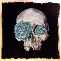 life in death human skull succulent painting oil on by LunaBatBlue, $169.00