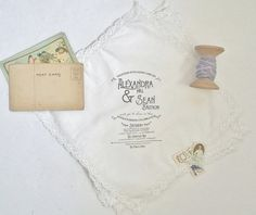 The Old Fashion Collection. Printed Lace Handkerchief Wedding Invitations Set of 25.  Wedding handkerchief invitations.