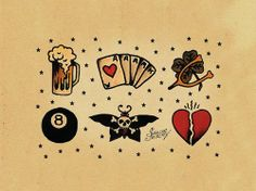 Old School Tattoos... I like the wishbone and clover, would totally get that
