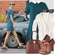 A fashion look from January 2015 featuring teal blue dresses, heather gray shirt and zipper purse. Browse and shop related looks. Taylor Swift Costume, Signature Look, Feminine Dress, Rebecca Taylor, Grey Shirt, Michael Kors Hamilton, Playing Dress Up, Girly Girl, Her Style