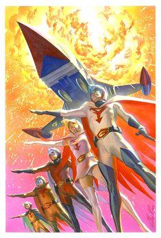 Alex Ross Gatchaman/ Battle of the Planets Painting Comic Art