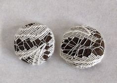 Twice Layered Fabric and Lace Button Earrings by DandelionDrifters, $4.00